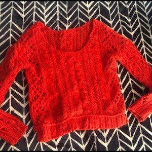 Free People red crochet sweater